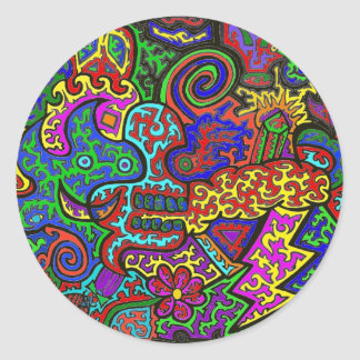 Squiggly Madness Classic Round Sticker
