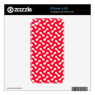 Squiggly Wiggly Design in Red on iPhone 4/4S Skin iPhone 4 Skins