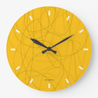 squiggy yellow abstract clock