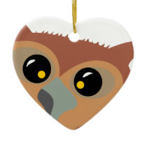 Squint-eyed Owl Ceramic Ornament