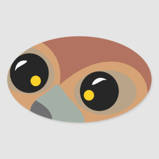 Squint-eyed Owl Oval Sticker