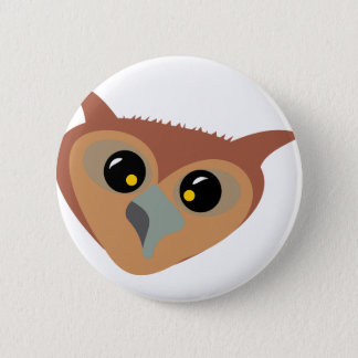 Squint-eyed Owl Pinback Button