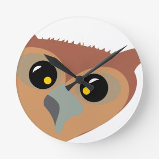 Squint-eyed Owl Round Clock
