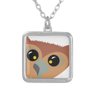 Squint-eyed Owl Silver Plated Necklace