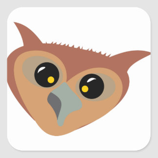 Squint-eyed Owl Square Sticker