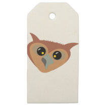 Squint-eyed Owl Wooden Gift Tags