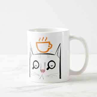 Squinty cat with coffee cup