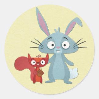 Squirell and Bunny Rabit Buddies Classic Round Sticker
