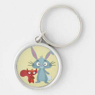 Squirell and Bunny Rabit Buddies Silver-Colored Round Keychain