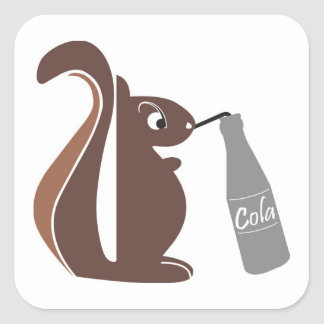 Squirrel 0025 nc square sticker