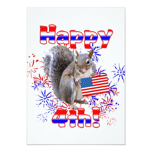 Squirrel 4th of July 5x7 Paper Invitation Card