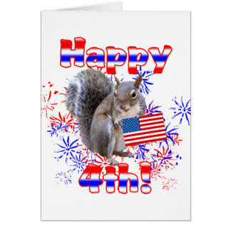 Squirrel 4th of July Card
