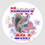 Squirrel 4th of July Classic Round Sticker