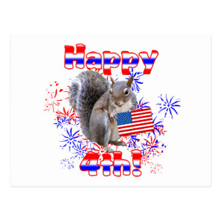 Squirrel 4th of July Postcards