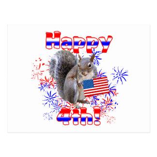 Squirrel 4th of July Postcard