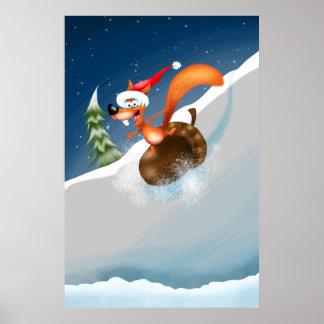 Squirrel Acorn Snowboarding Poster