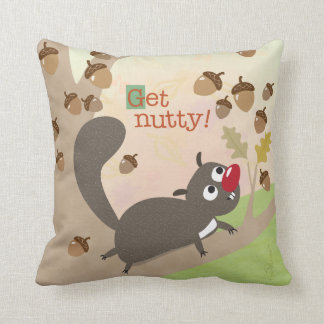 Squirrel and Acorns Throw Pillow