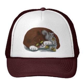 Squirrel and Cat share acorns Trucker Hat
