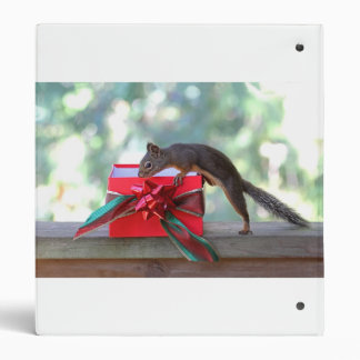 Squirrel and Christmas Present 3 Ring Binder