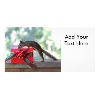 Squirrel and Christmas Present Personalized Photo Card