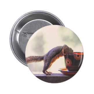 Squirrel and Coffee Cup 2 Inch Round Button