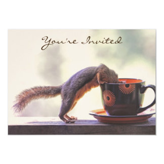 Squirrel and Coffee Cup 5x7 Paper Invitation Card
