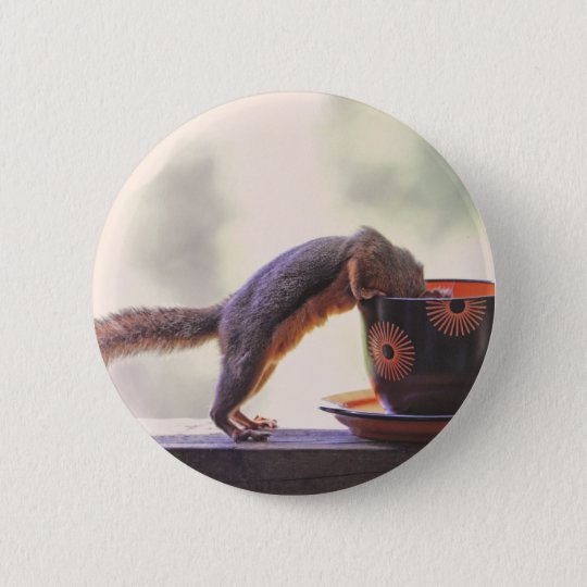 Squirrel and Coffee Cup Button