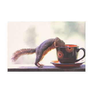 Squirrel and Coffee Cup Canvas Print