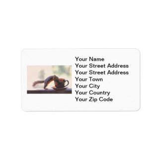 Squirrel and Coffee Cup Address Label