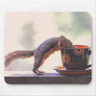 Squirrel and Coffee Cup Mouse Pad