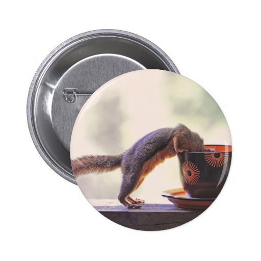 Squirrel and Coffee Cup Pinback Buttons