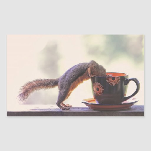 Squirrel and Coffee Cup Rectangular Sticker