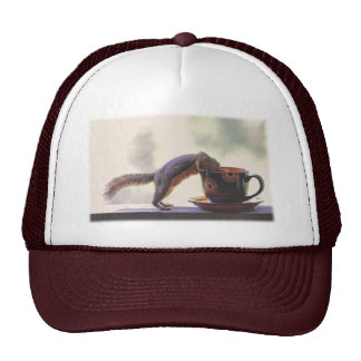 Squirrel and Coffee Cup Trucker Hat