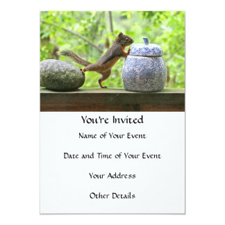 Squirrel and Cookie Jar 5x7 Paper Invitation Card