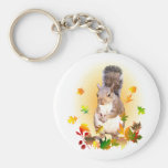 Squirrel and Fall Leaves Keychains