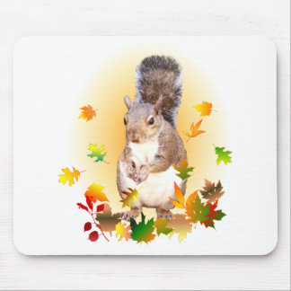 Squirrel and Fall Leaves Mouse Pad