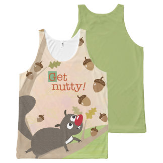Squirrel and Falling Acorns Get Nutty All-Over-Print Tank Top