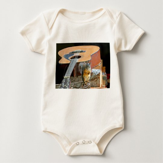 Squirrel and Guitar Baby Bodysuit