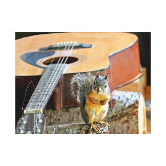 Squirrel and Guitar Canvas Prints