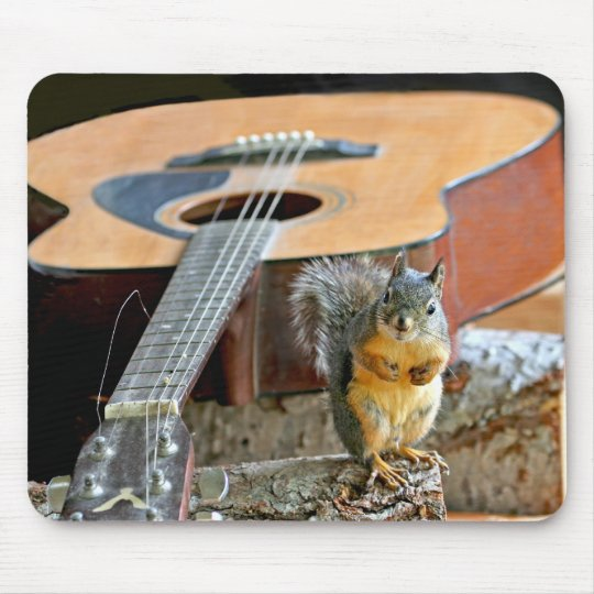Squirrel and Guitar Mouse Pad