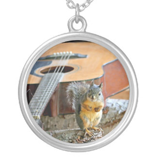 Squirrel and Guitar Personalized Necklace