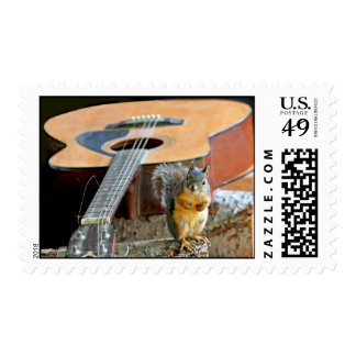Squirrel and Guitar Postage