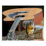 Squirrel and Guitar Posters