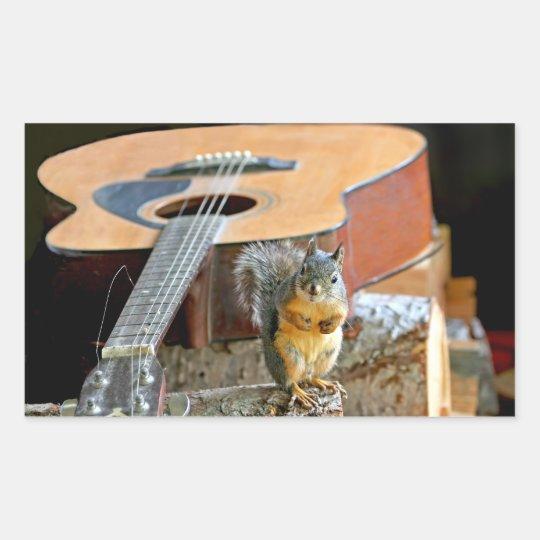 Squirrel and Guitar Rectangular Sticker