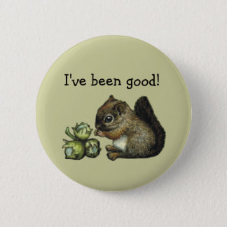 Squirrel and hazelnuts button