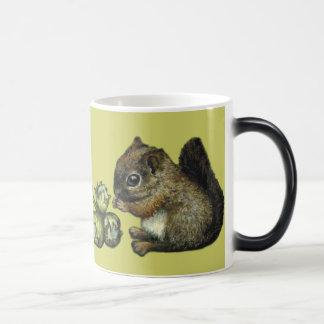 Squirrel and hazelnuts magic mug