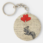 Squirrel and heart balloons basic round button keychain
