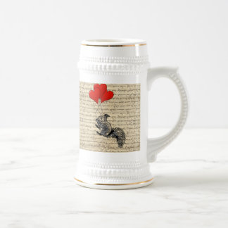 Squirrel and heart balloons beer stein
