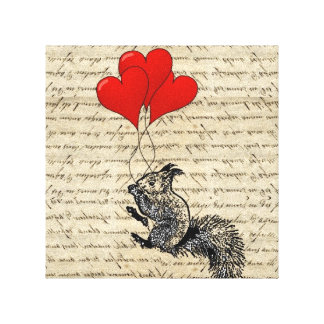 Squirrel and heart balloons stretched canvas prints