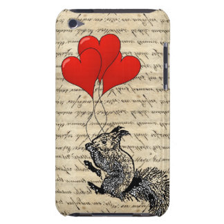 Squirrel and heart balloons iPod touch case